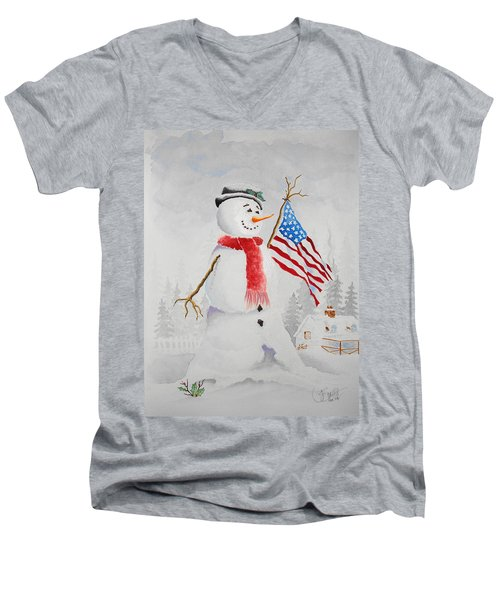 Patriotic Snowman Men's V-Neck T-Shirt