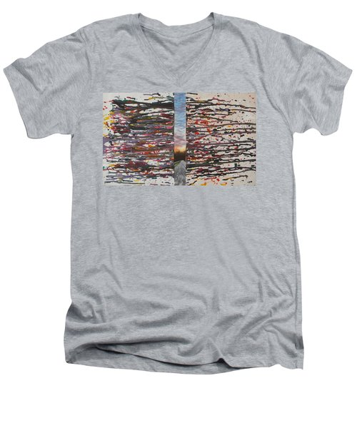 Men's V-Neck T-Shirt featuring the painting Pause by Thomasina Durkay