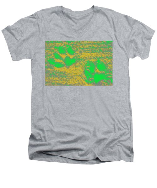 Paw Prints In Yellow And Lime Men's V-Neck T-Shirt