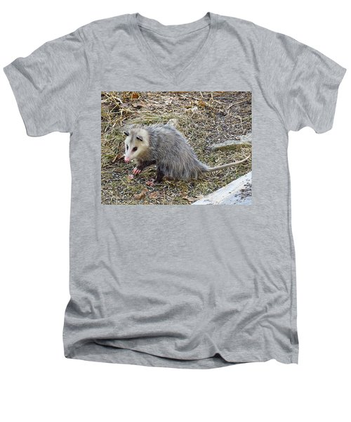 Pawing Possum Men's V-Neck T-Shirt