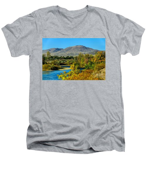 Payette River And Squaw Butte Men's V-Neck T-Shirt