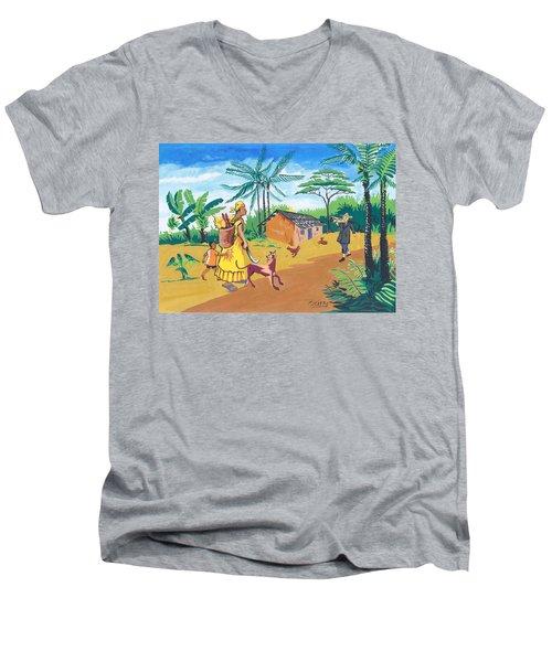 Men's V-Neck T-Shirt featuring the painting Paysage Du Sud Du Cameroon by Emmanuel Baliyanga