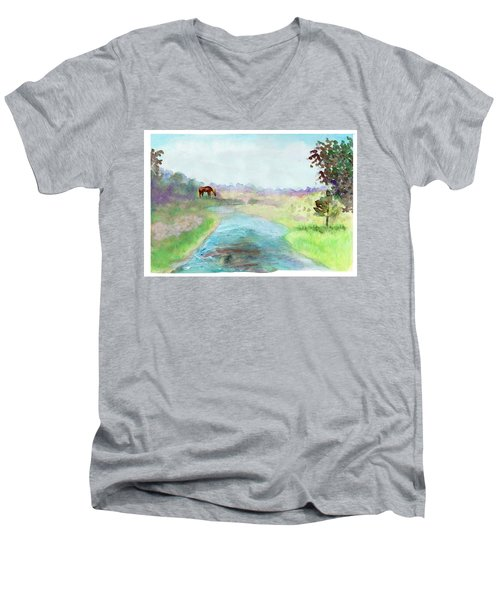 Peaceful Day Men's V-Neck T-Shirt by C Sitton
