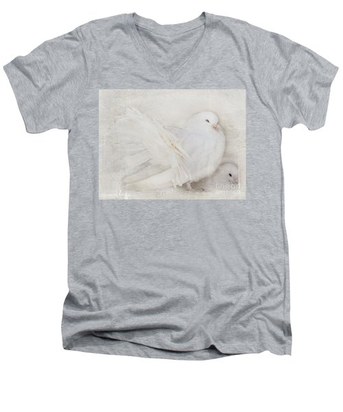 Peaceful Existence White On White Men's V-Neck T-Shirt