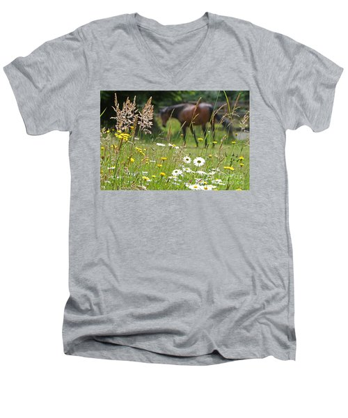 Peaceful Pasture Men's V-Neck T-Shirt by Michelle Twohig