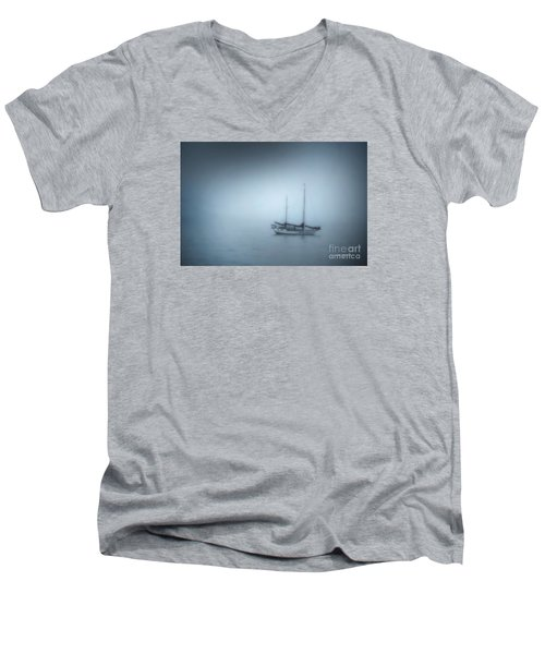 Peaceful Sailboat On A Foggy Morning From The Book My Ocean Men's V-Neck T-Shirt by Artist and Photographer Laura Wrede