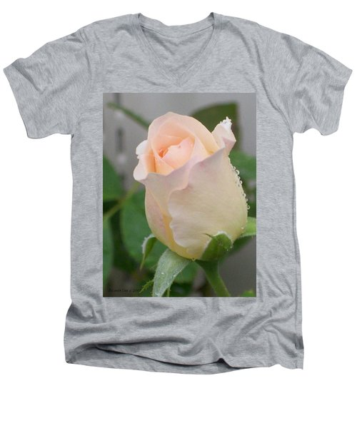 Men's V-Neck T-Shirt featuring the photograph Fragile Peach Rose Bud by Belinda Lee