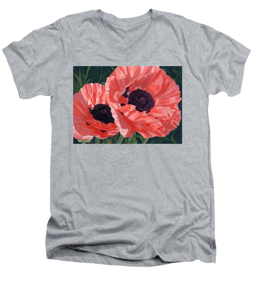 Men's V-Neck T-Shirt featuring the painting Peachy Poppies by Lynne Reichhart