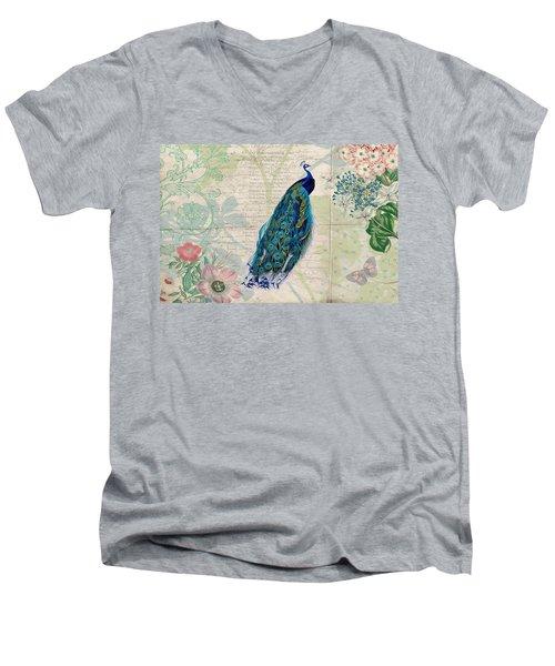 Peacock And Botanical Art Men's V-Neck T-Shirt
