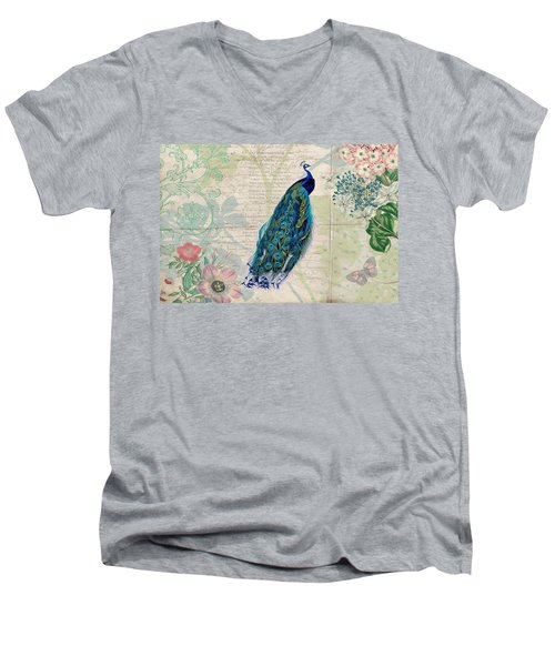 Peacock And Botanical Art Men's V-Neck T-Shirt