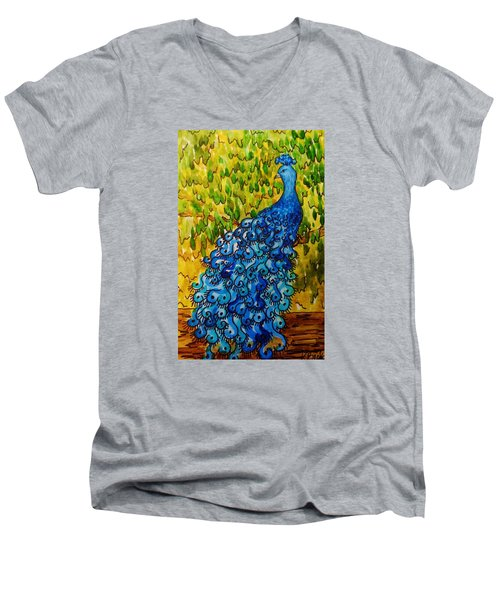 Men's V-Neck T-Shirt featuring the painting Peacock by Katherine Young-Beck