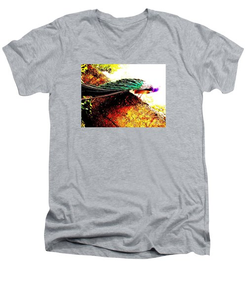 Men's V-Neck T-Shirt featuring the photograph Peacock Tail by Vanessa Palomino