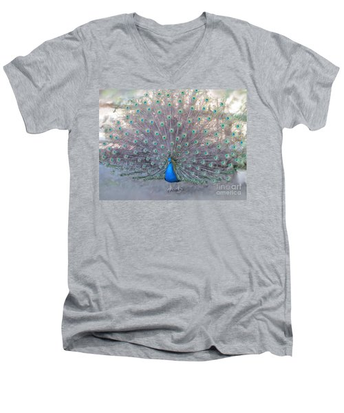 Peacock3  Men's V-Neck T-Shirt by Laurianna Taylor