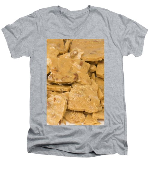 Peanut Brittle Closeup Men's V-Neck T-Shirt