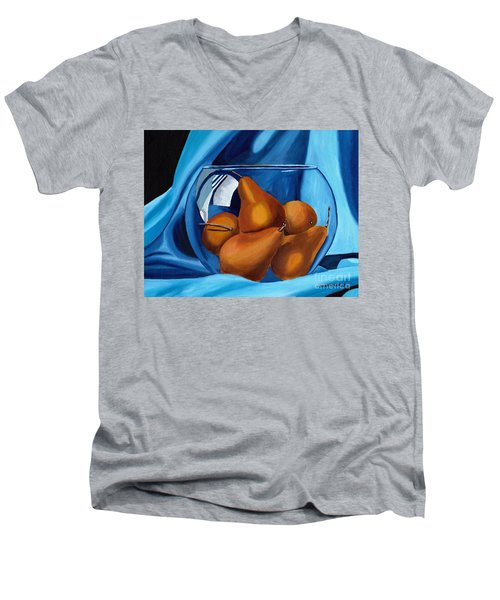 Men's V-Neck T-Shirt featuring the painting Pear Anyone by Laura Forde