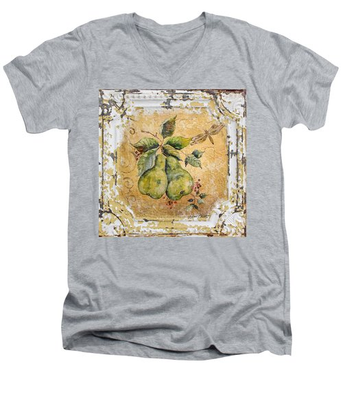 Pears And Dragonfly On Vintage Tin Men's V-Neck T-Shirt by Jean Plout