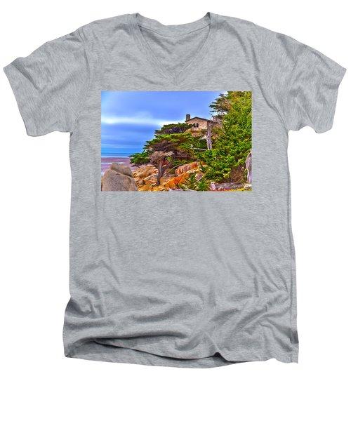 Pebble Beach Ca Men's V-Neck T-Shirt by Richard J Cassato
