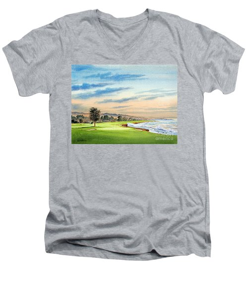Pebble Beach Golf Course 18th Hole Men's V-Neck T-Shirt