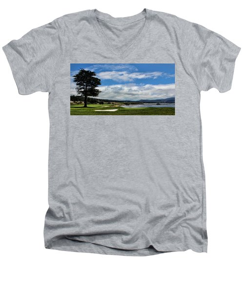 Pebble Beach - The 18th Hole Men's V-Neck T-Shirt by Judy Vincent