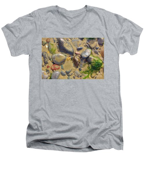Pebbles On The Beach Men's V-Neck T-Shirt