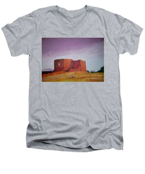 Men's V-Neck T-Shirt featuring the painting Pecos Mission Landscape by Eric  Schiabor