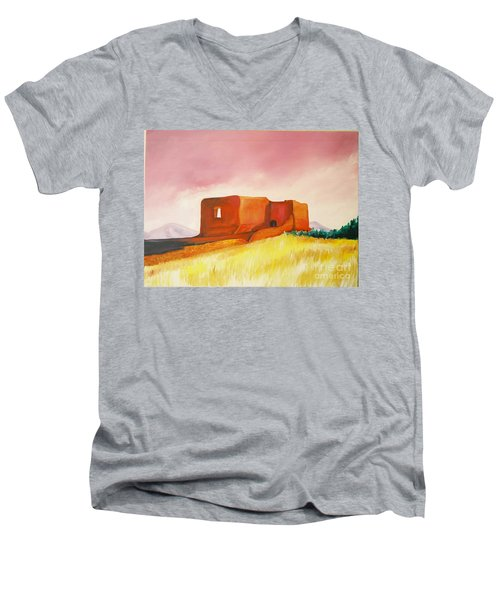 Men's V-Neck T-Shirt featuring the painting Pecos Mission Nm by Eric  Schiabor