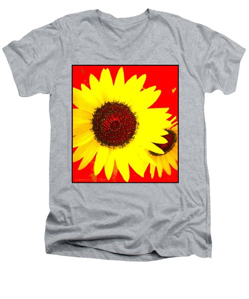 Men's V-Neck T-Shirt featuring the photograph Peek A Boo by Kathy Barney