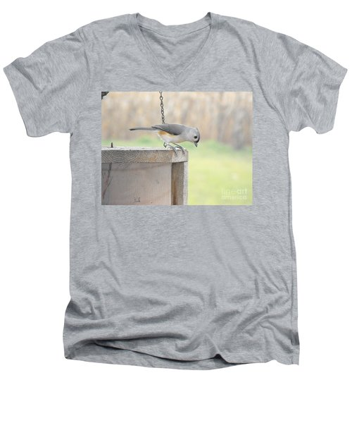 Peeking Chickadee Men's V-Neck T-Shirt