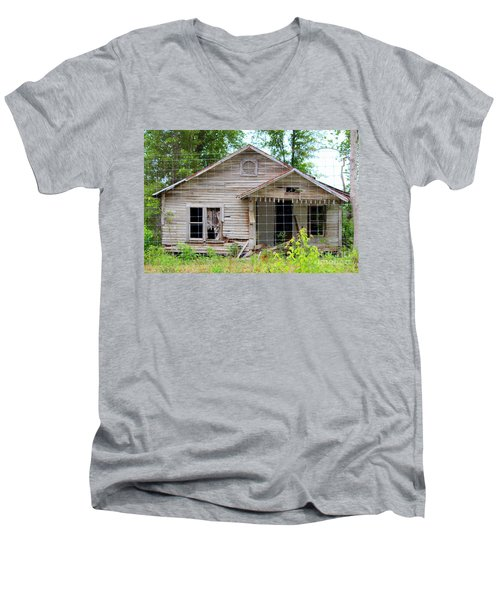 Men's V-Neck T-Shirt featuring the photograph Peeking In At The Past by Kathy  White