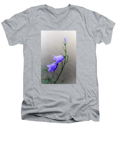 Blue Bells Peeking Through The Mist Men's V-Neck T-Shirt by Debra Martz