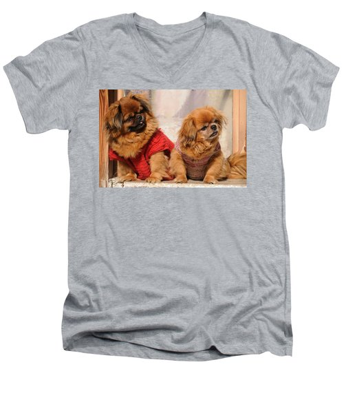 Pekingese Pair Men's V-Neck T-Shirt by Jeremy Voisey