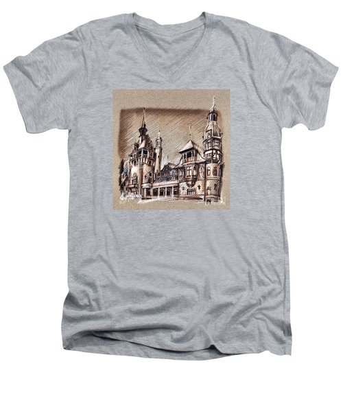 Peles Castle Romania Drawing Men's V-Neck T-Shirt