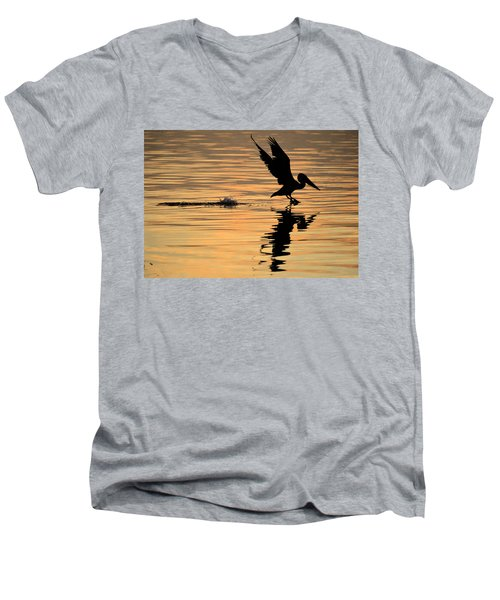 Pelican At Sunrise Men's V-Neck T-Shirt
