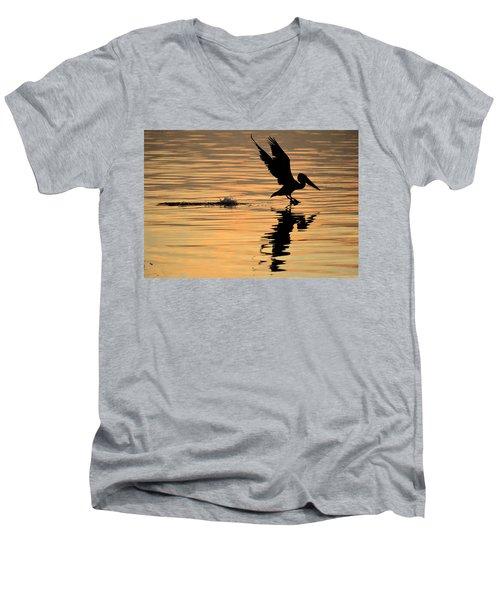 Pelican At Sunrise Men's V-Neck T-Shirt by Leticia Latocki