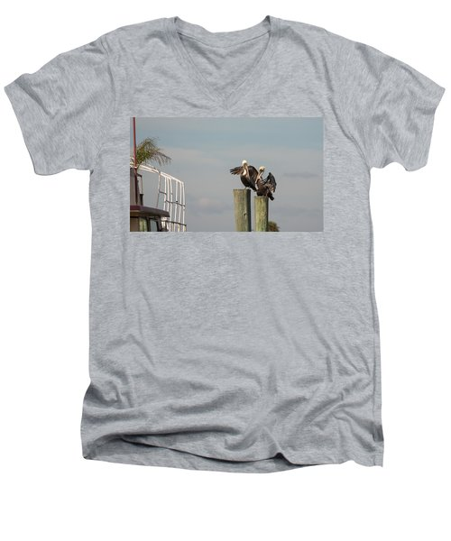 Men's V-Neck T-Shirt featuring the photograph Pelican Buddies by John M Bailey
