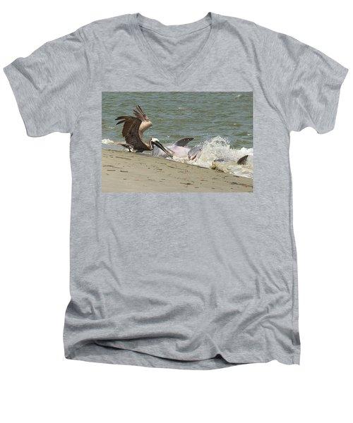 Pelican Steals The Fish Men's V-Neck T-Shirt
