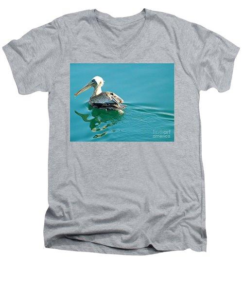 Pelican Swimming Men's V-Neck T-Shirt by Clare Bevan