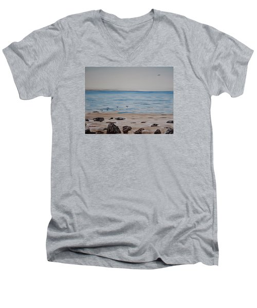 Men's V-Neck T-Shirt featuring the painting Pelicans At El Capitan by Ian Donley