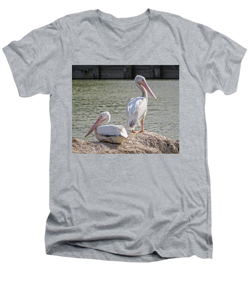 Pelicans By The Pair Men's V-Neck T-Shirt by Ella Kaye Dickey