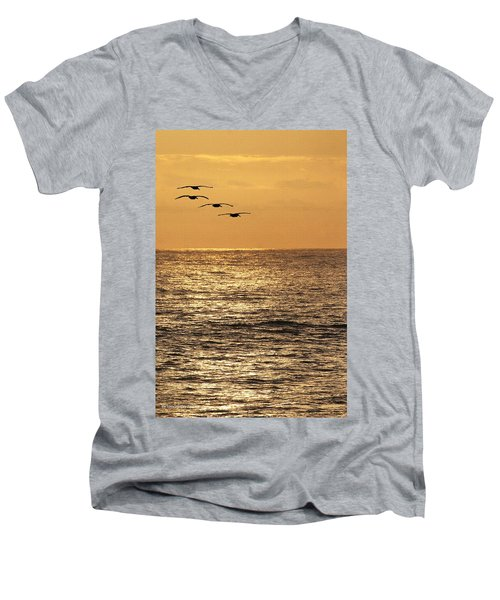 Pelicans Ocean And Sunsetting Men's V-Neck T-Shirt by Tom Janca