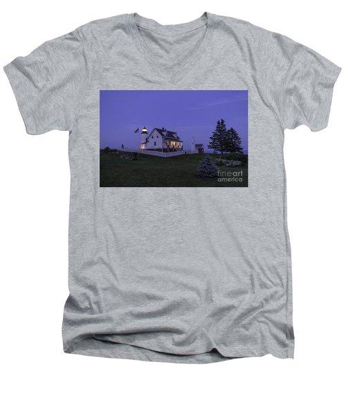 Pemaquid Point Light - Blue Hour Men's V-Neck T-Shirt