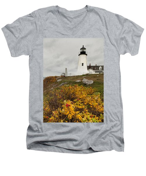 Pemaquid Point Lighthouse And Sea Roses Men's V-Neck T-Shirt