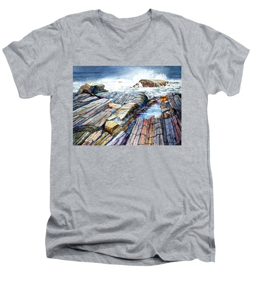 Pemaquid Rocks Men's V-Neck T-Shirt
