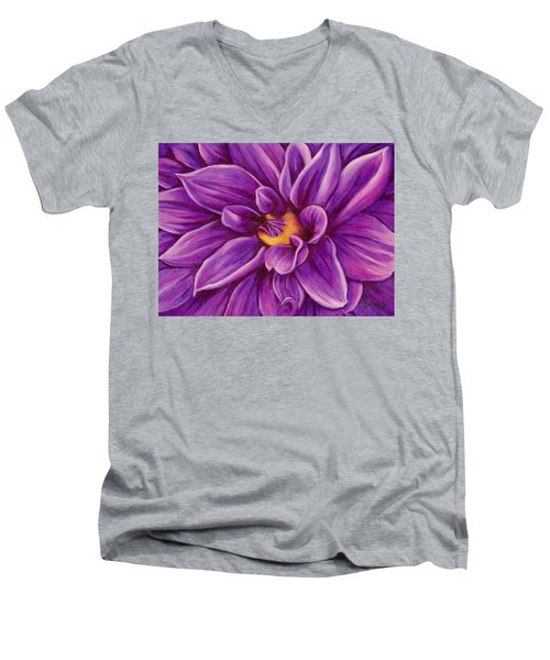 Men's V-Neck T-Shirt featuring the drawing Pencil Dahlia by Janice Dunbar