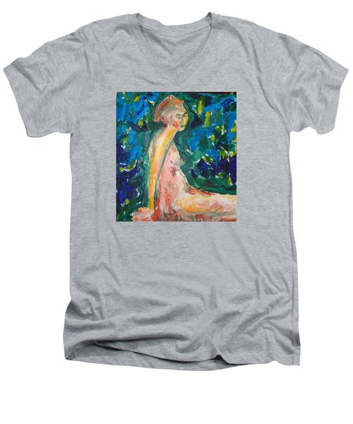 Men's V-Neck T-Shirt featuring the painting Penelope Silenced by Esther Newman-Cohen