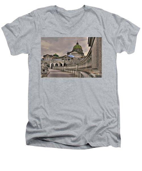 Pennsylvania State Capital Men's V-Neck T-Shirt by Lois Bryan