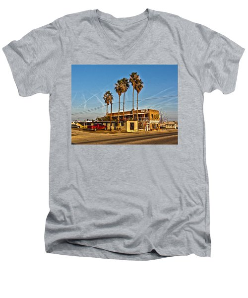 Men's V-Neck T-Shirt featuring the photograph Penny Bar Mckittrick California by Lanita Williams