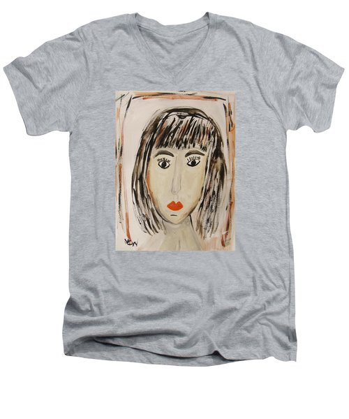 Pensive M.  Men's V-Neck T-Shirt by Mary Carol Williams