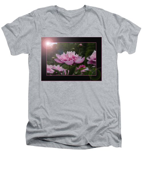 Men's V-Neck T-Shirt featuring the photograph Peony Garden Sun Flare by Patti Deters