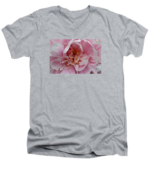 Men's V-Neck T-Shirt featuring the photograph Peony Love by Julie Andel